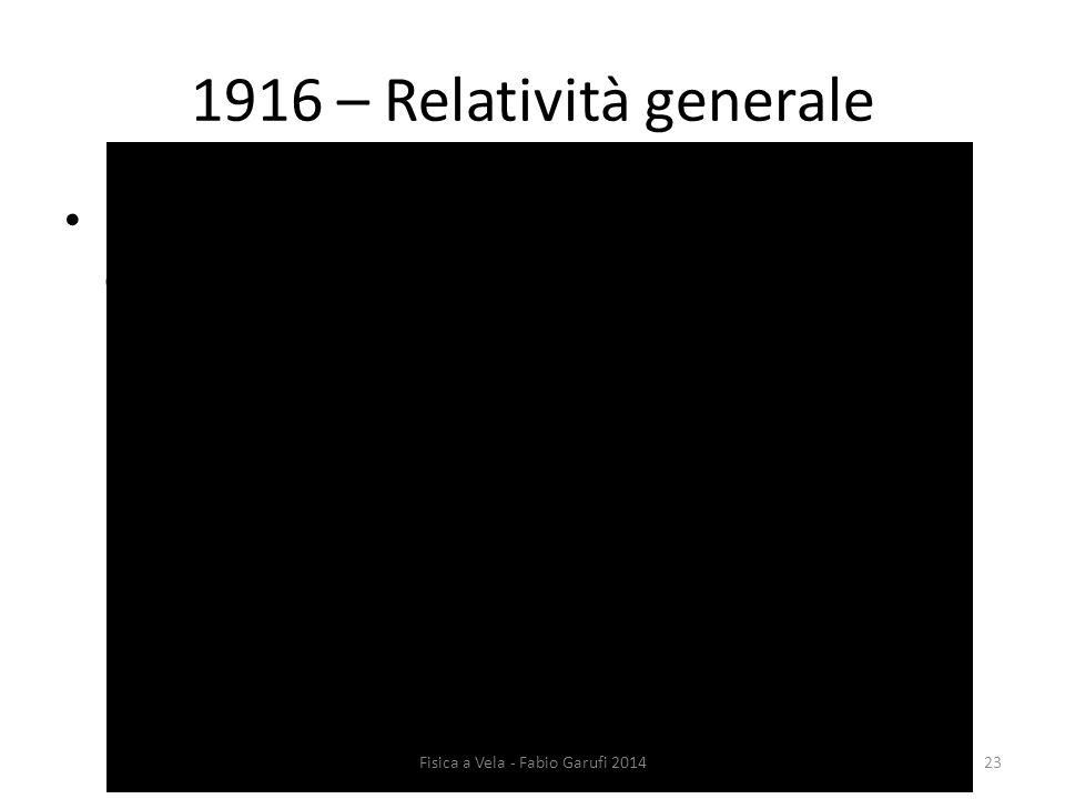 1916 – Relatività generale Per sistemi non inerziali lo spazio-tempo è curvo: accelerazione  forza  curvatura; 23Fisica a Vela - Fabio Garufi 2014