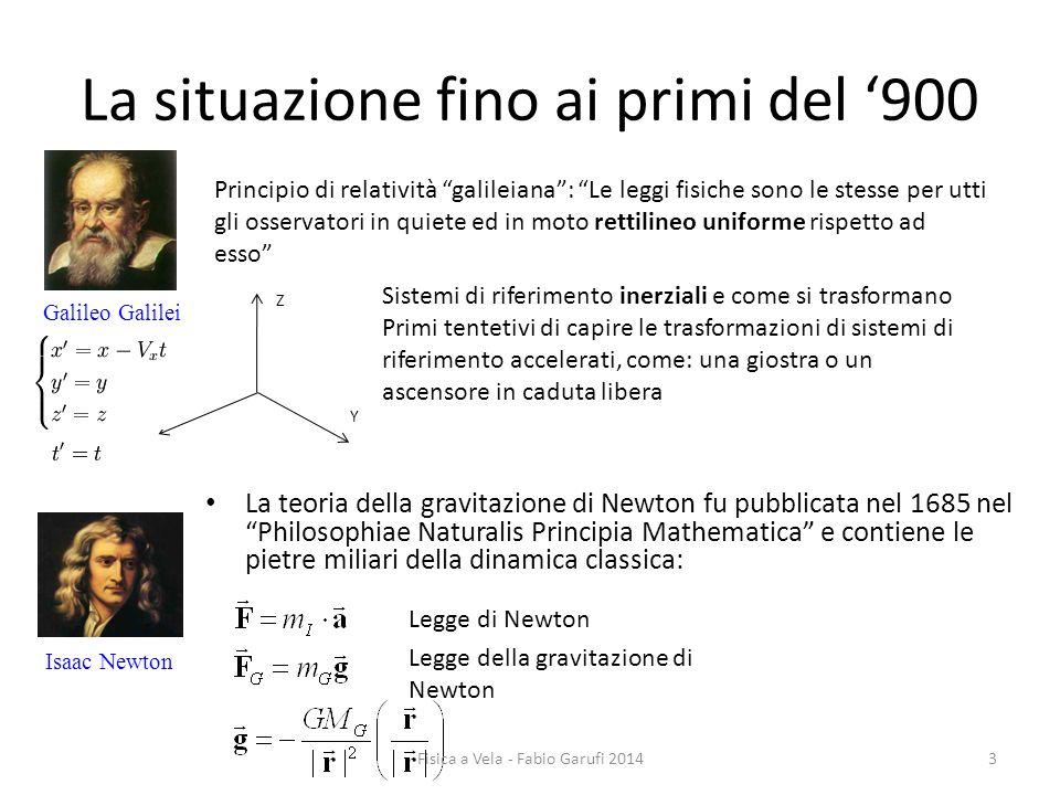 La situazione fino ai primi del '900 Isaac Newton Galileo Galilei Principio di relatività galileiana : Le leggi fisiche sono le stesse per utti gli osservatori in quiete ed in moto rettilineo uniforme rispetto ad esso X Y Z Sistemi di riferimento inerziali e come si trasformano Primi tentetivi di capire le trasformazioni di sistemi di riferimento accelerati, come: una giostra o un ascensore in caduta libera La teoria della gravitazione di Newton fu pubblicata nel 1685 nel Philosophiae Naturalis Principia Mathematica e contiene le pietre miliari della dinamica classica: Legge di Newton Legge della gravitazione di Newton 3Fisica a Vela - Fabio Garufi 2014