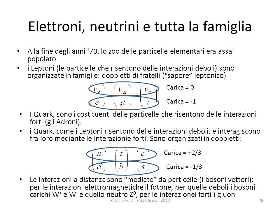 Elettroni, neutrini e tutta la famiglia Alla fine degli anni '70, lo zoo delle particelle elementari era assai popolato i Leptoni (le particelle che risentono delle interazioni deboli) sono organizzate in famiglie: doppietti di fratelli ( sapore leptonico) I Quark, sono i costituenti delle particelle che risentono delle interazioni forti (gli Adroni).