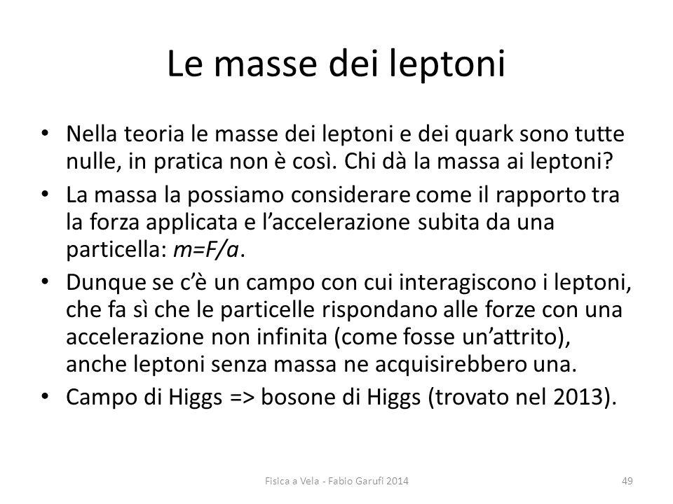Le masse dei leptoni Nella teoria le masse dei leptoni e dei quark sono tutte nulle, in pratica non è così.