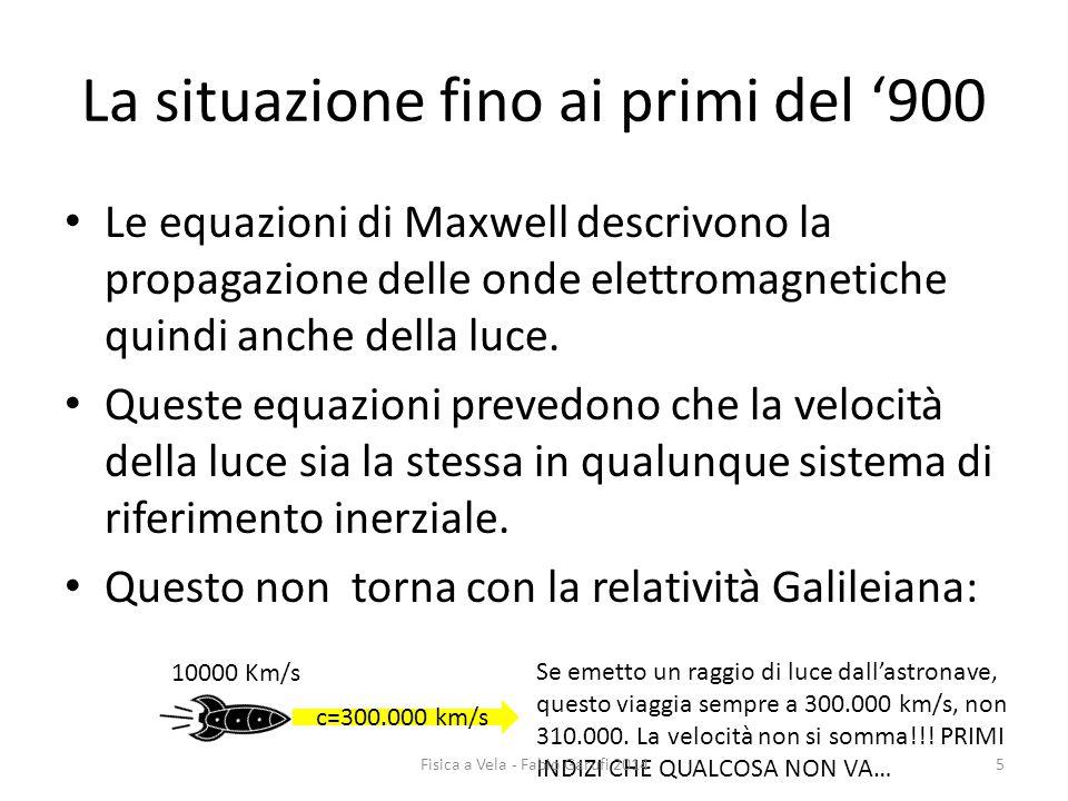 La situazione fino ai primi del '900 Le equazioni di Maxwell descrivono la propagazione delle onde elettromagnetiche quindi anche della luce.