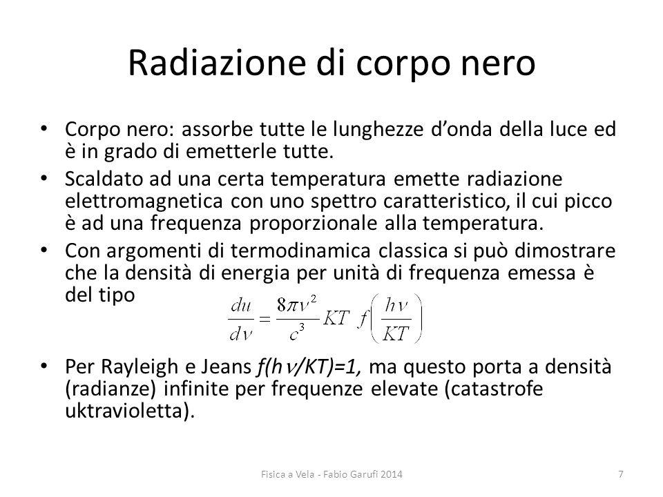 Radiazione di corpo nero Corpo nero: assorbe tutte le lunghezze d'onda della luce ed è in grado di emetterle tutte.