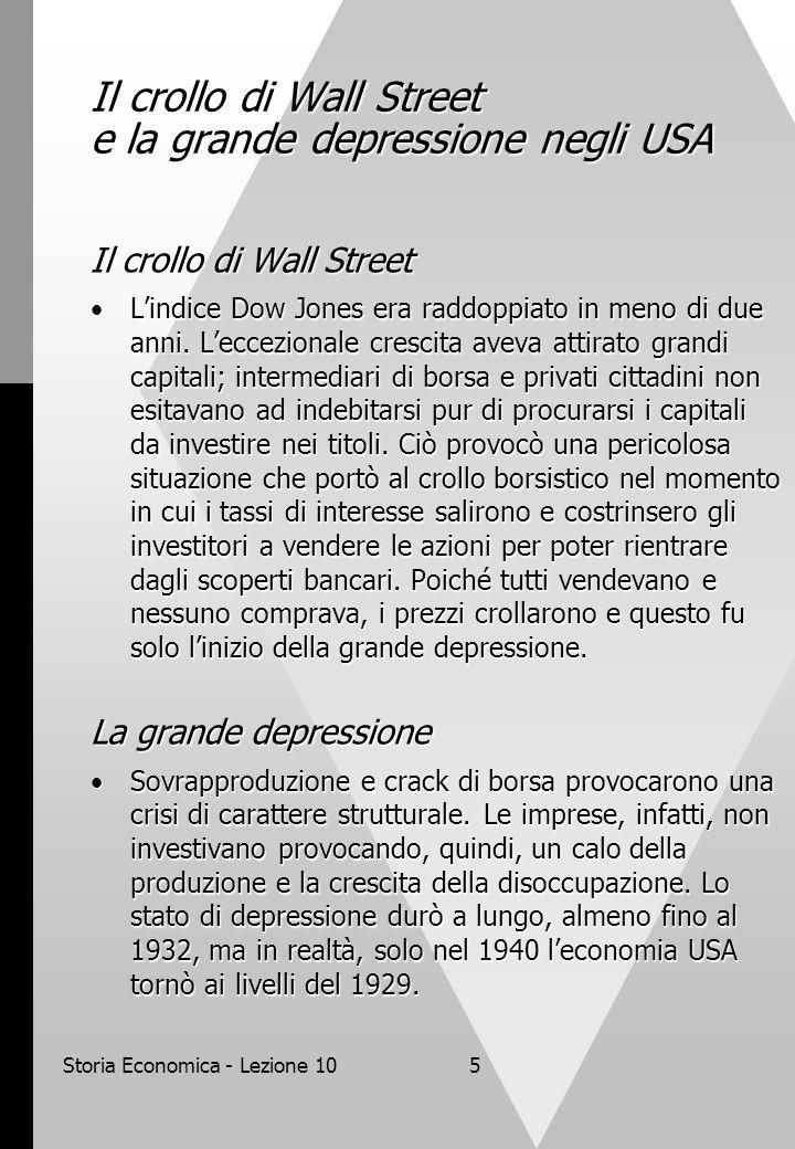 Storia Economica - Lezione 105 Il crollo di Wall Street e la grande depressione negli USA Il crollo di Wall Street L'indice Dow Jones era raddoppiato in meno di due anni.