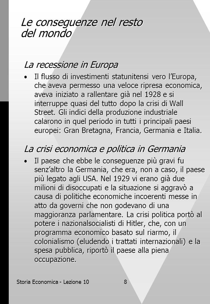 Storia Economica - Lezione 108 Le conseguenze nel resto del mondo La recessione in Europa Il flusso di investimenti statunitensi vero l'Europa, che aveva permesso una veloce ripresa economica, aveva iniziato a rallentare già nel 1928 e si interruppe quasi del tutto dopo la crisi di Wall Street.