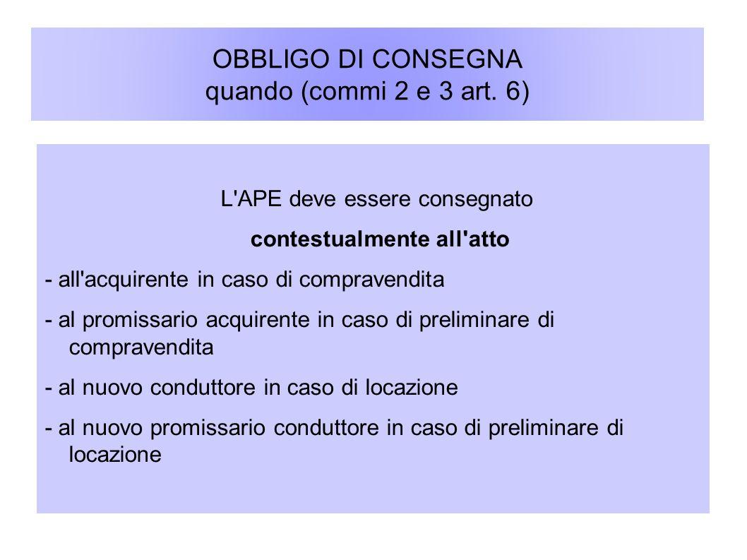 OBBLIGO DI CONSEGNA quando (commi 2 e 3 art. 6) L'APE deve essere consegnato contestualmente all'atto - all'acquirente in caso di compravendita - al p