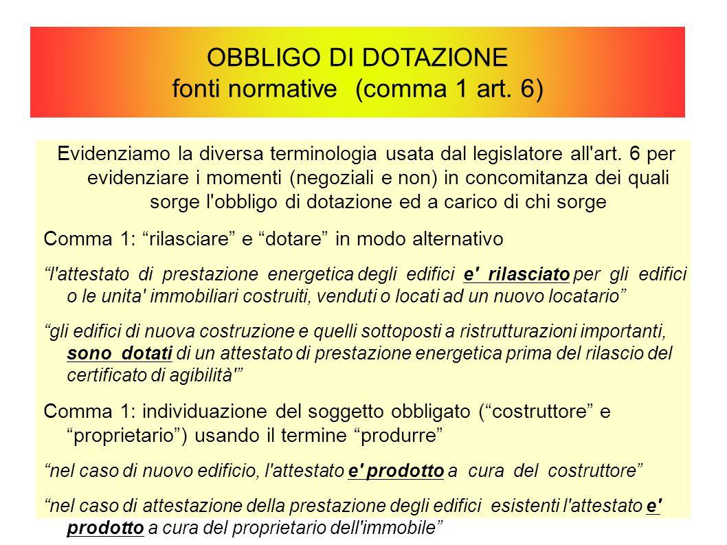 OBBLIGO DI DOTAZIONE fonti normative (comma 1 art. 6) Evidenziamo la diversa terminologia usata dal legislatore all'art. 6 per evidenziare i momenti (