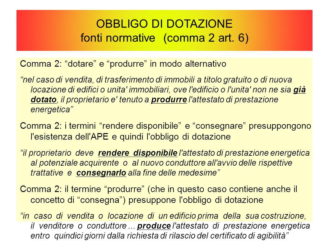 """OBBLIGO DI DOTAZIONE fonti normative (comma 2 art. 6) Comma 2: """"dotare"""" e """"produrre"""" in modo alternativo """"nel caso di vendita, di trasferimento di imm"""