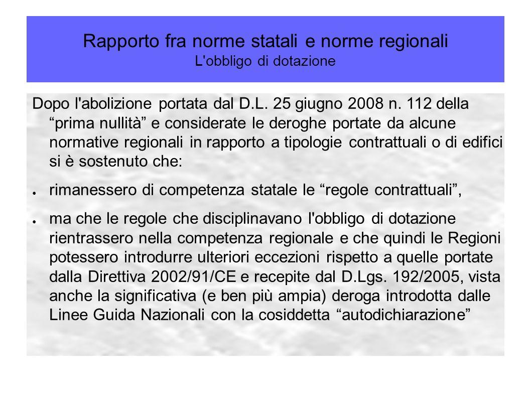 """Rapporto fra norme statali e norme regionali L'obbligo di dotazione Dopo l'abolizione portata dal D.L. 25 giugno 2008 n. 112 della """"prima nullità"""" e c"""