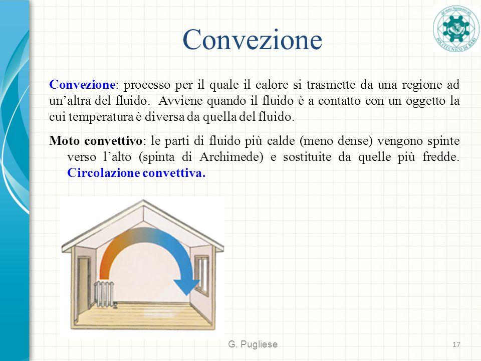 Convezione G. Pugliese 17 Convezione: processo per il quale il calore si trasmette da una regione ad un'altra del fluido. Avviene quando il fluido è a