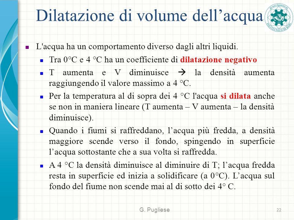 Dilatazione di volume dell'acqua G. Pugliese 22 L'acqua ha un comportamento diverso dagli altri liquidi. Tra 0°C e 4 °C ha un coefficiente di dilatazi
