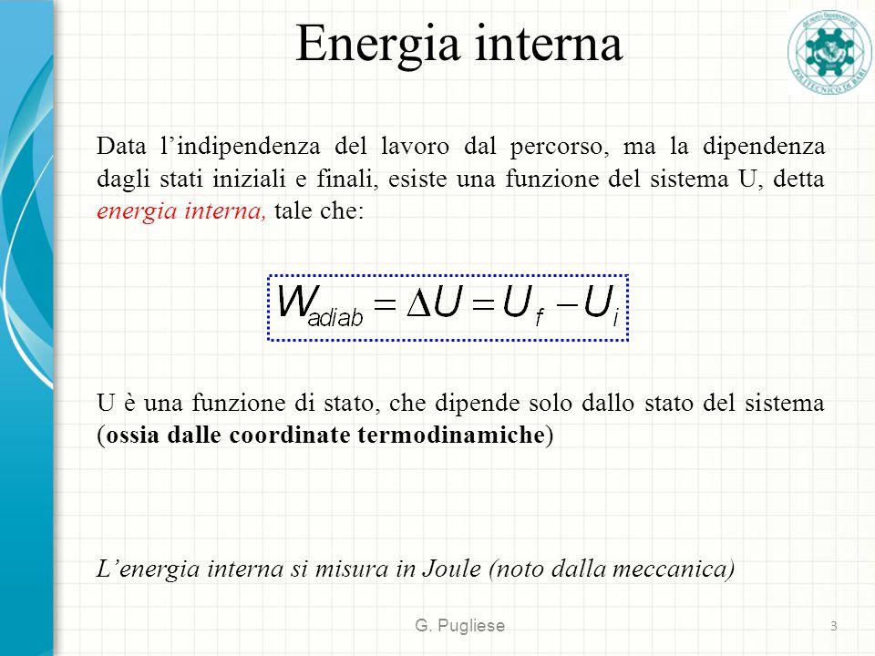 Energia interna G. Pugliese 3 Data l'indipendenza del lavoro dal percorso, ma la dipendenza dagli stati iniziali e finali, esiste una funzione del sis