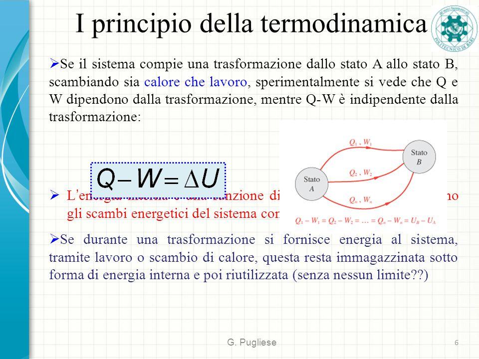 I principio della termodinamica G. Pugliese 6  Se il sistema compie una trasformazione dallo stato A allo stato B, scambiando sia calore che lavoro,