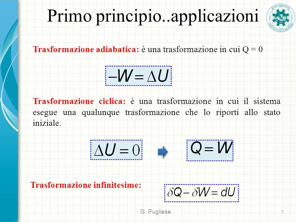 Primo principio..applicazioni G. Pugliese 7 Trasformazione adiabatica: è una trasformazione in cui Q = 0 Trasformazione ciclica: è una trasformazione