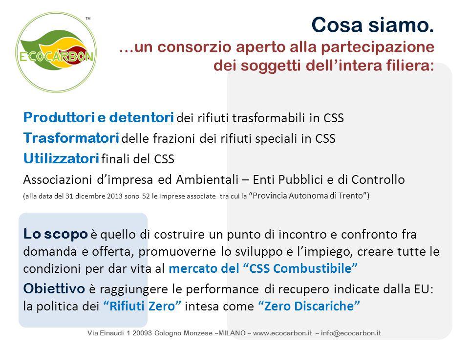 Via Einaudi 1 20093 Cologno Monzese –MILANO – www.ecocarbon.it – info@ecocarbon.it Cosa siamo. …un consorzio aperto alla partecipazione dei soggetti d