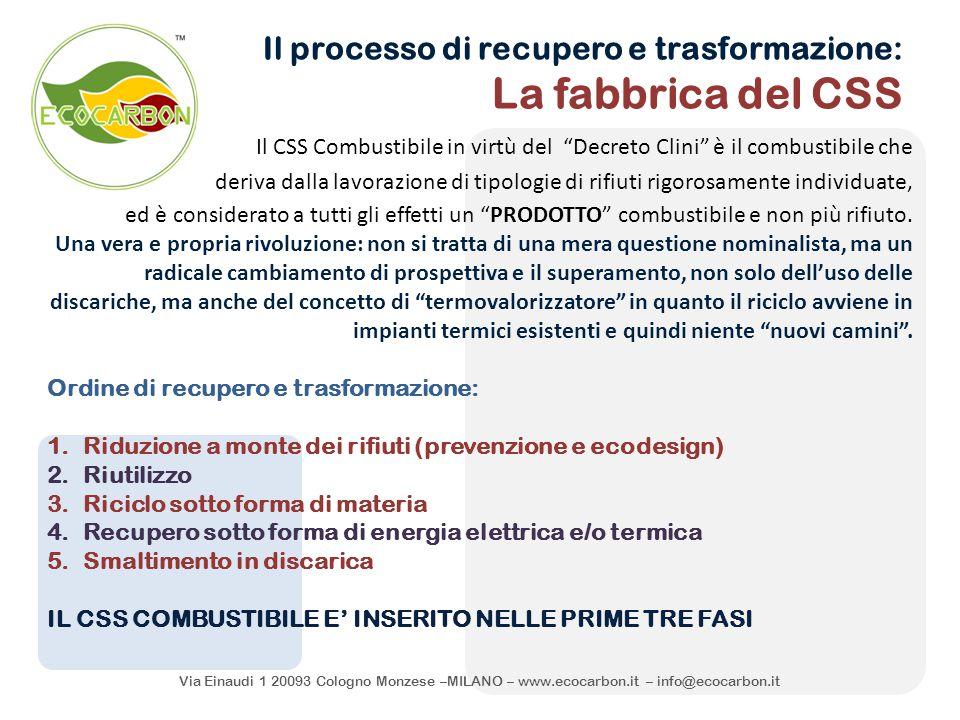 Via Einaudi 1 20093 Cologno Monzese –MILANO – www.ecocarbon.it – info@ecocarbon.it Il processo di recupero e trasformazione: La fabbrica del CSS Il CS