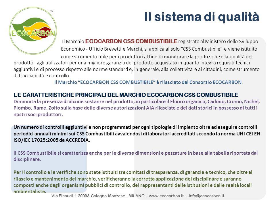 Via Einaudi 1 20093 Cologno Monzese –MILANO – www.ecocarbon.it – info@ecocarbon.it Il sistema di qualità Il Marchio ECOCARBON CSS COMBUSTIBILE registr