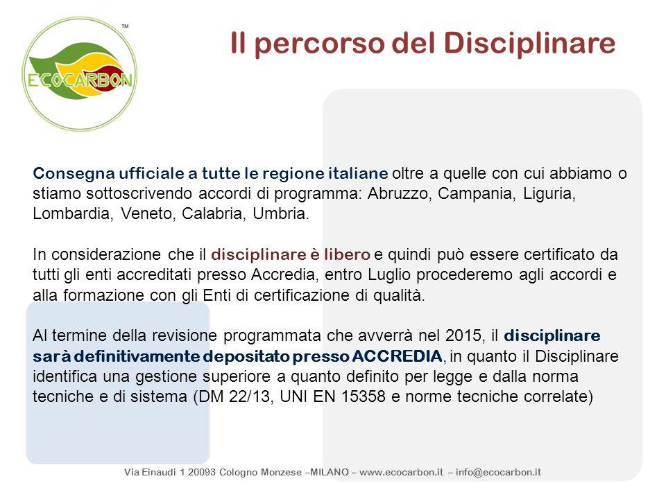 Via Einaudi 1 20093 Cologno Monzese –MILANO – www.ecocarbon.it – info@ecocarbon.it Il percorso del Disciplinare Consegna ufficiale a tutte le regione
