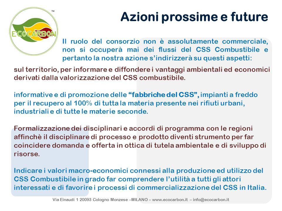 Via Einaudi 1 20093 Cologno Monzese –MILANO – www.ecocarbon.it – info@ecocarbon.it Il ruolo del consorzio non è assolutamente commerciale, non si occu