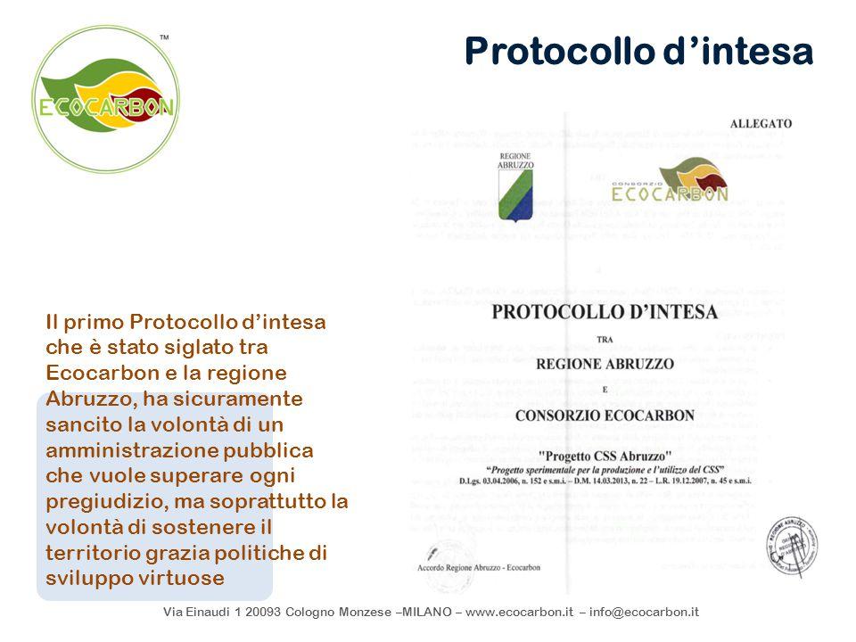 Via Einaudi 1 20093 Cologno Monzese –MILANO – www.ecocarbon.it – info@ecocarbon.it Protocollo d'intesa Il primo Protocollo d'intesa che è stato siglat