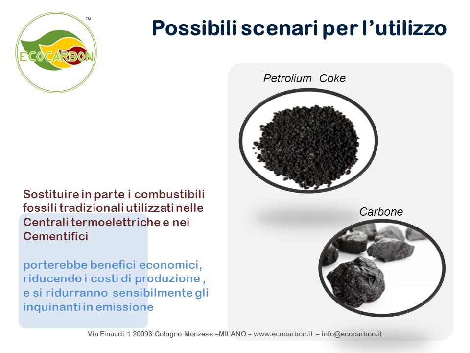 Via Einaudi 1 20093 Cologno Monzese –MILANO – www.ecocarbon.it – info@ecocarbon.it Possibili scenari per l'utilizzo Sostituire in parte i combustibili