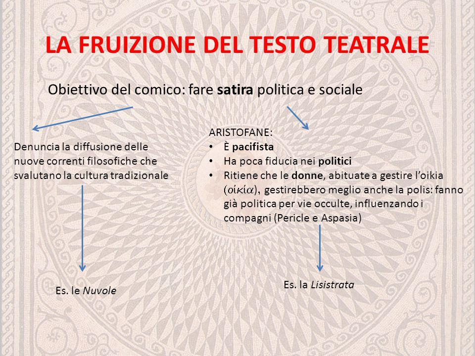 LA FRUIZIONE DEL TESTO TEATRALE Obiettivo del comico: fare satira politica e sociale Denuncia la diffusione delle nuove correnti filosofiche che svalu