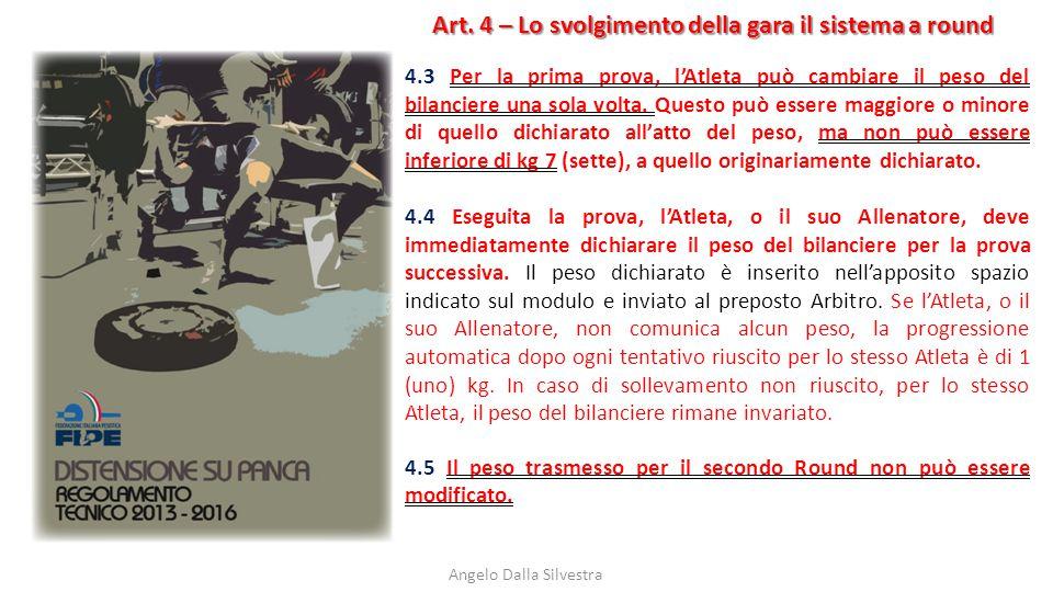Art. 4 – Lo svolgimento della gara il sistema a round Angelo Dalla Silvestra 4.3 Per la prima prova, l'Atleta può cambiare il peso del bilanciere una