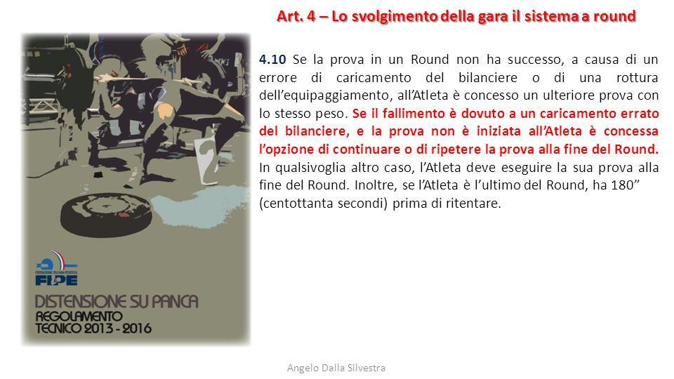 Art. 4 – Lo svolgimento della gara il sistema a round Angelo Dalla Silvestra 4.10 Se la prova in un Round non ha successo, a causa di un errore di car