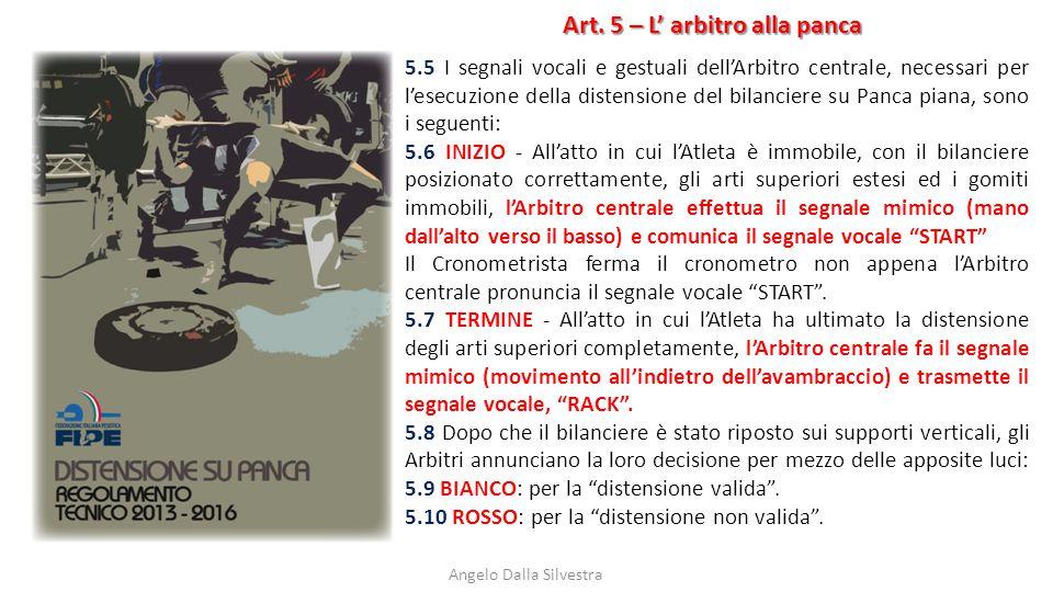 Art. 5 – L' arbitro alla panca Angelo Dalla Silvestra 5.5 I segnali vocali e gestuali dell'Arbitro centrale, necessari per l'esecuzione della distensi