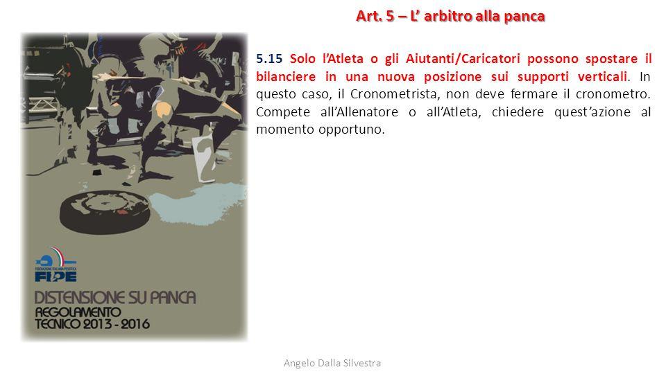 Art. 5 – L' arbitro alla panca Angelo Dalla Silvestra 5.15 Solo l'Atleta o gli Aiutanti/Caricatori possono spostare il bilanciere in una nuova posizio