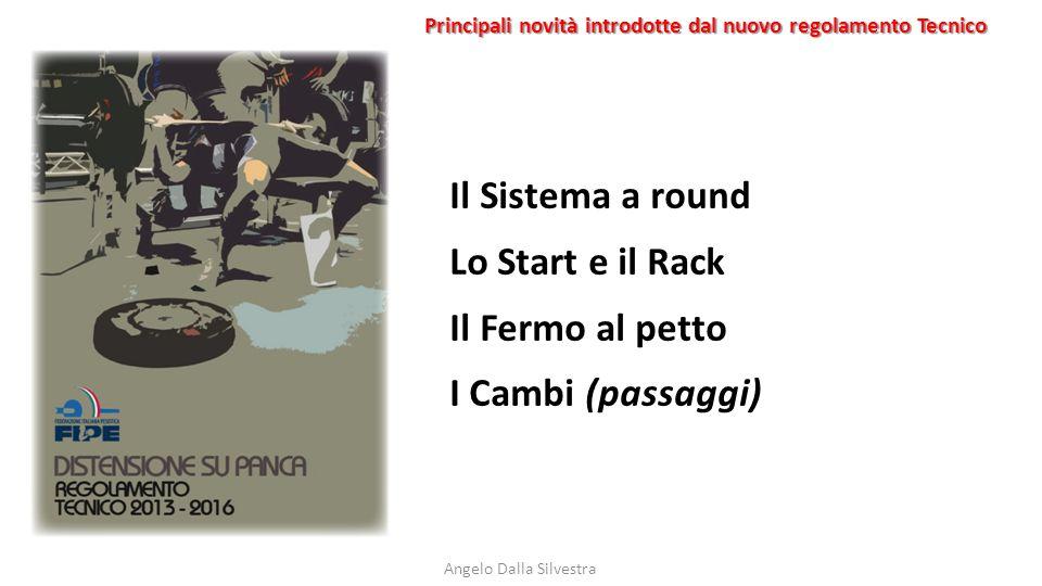 Principali novità introdotte dal nuovo regolamento Tecnico Angelo Dalla Silvestra Il Sistema a round Lo Start e il Rack Il Fermo al petto I Cambi (pas
