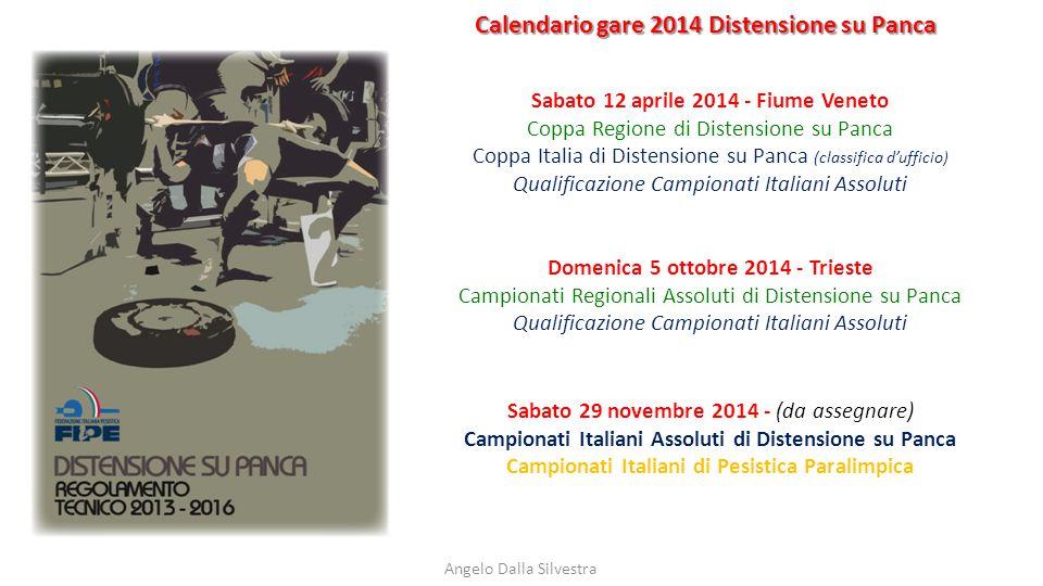 Calendario gare 2014 Distensione su Panca Angelo Dalla Silvestra Sabato 12 aprile 2014 - Fiume Veneto Coppa Regione di Distensione su Panca Coppa Ital