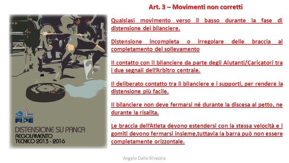 Art. 3 – Movimenti non corretti Angelo Dalla Silvestra Qualsiasi movimento verso il basso durante la fase di distensione del bilanciere. Distensione i