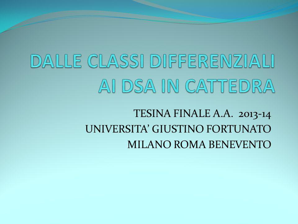 TESINA FINALE A.A. 2013-14 UNIVERSITA' GIUSTINO FORTUNATO MILANO ROMA BENEVENTO