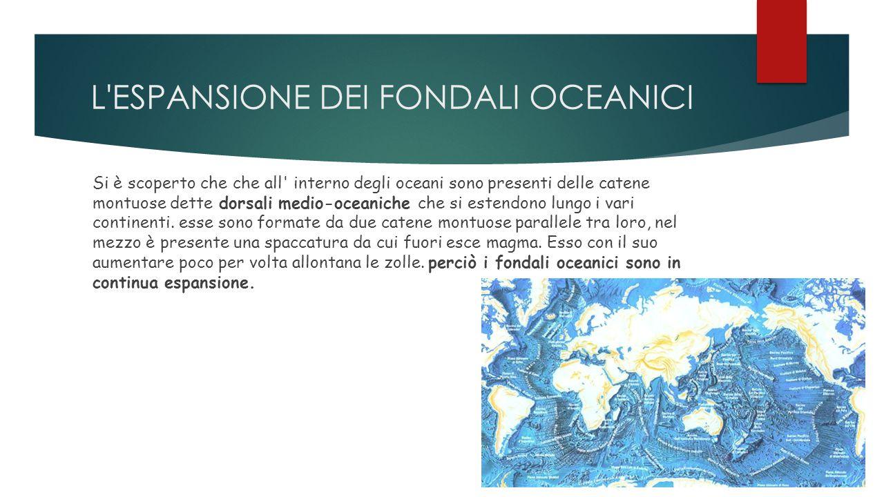 L'ESPANSIONE DEI FONDALI OCEANICI Si è scoperto che che all' interno degli oceani sono presenti delle catene montuose dette dorsali medio-oceaniche ch