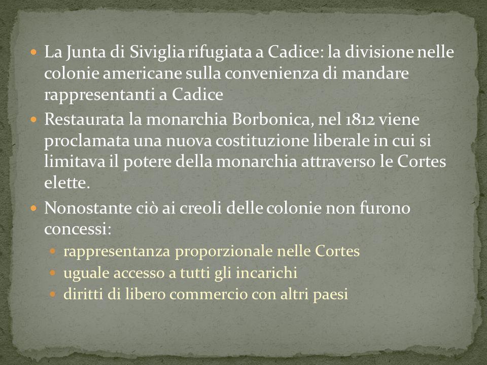 La Junta di Siviglia rifugiata a Cadice: la divisione nelle colonie americane sulla convenienza di mandare rappresentanti a Cadice Restaurata la monar