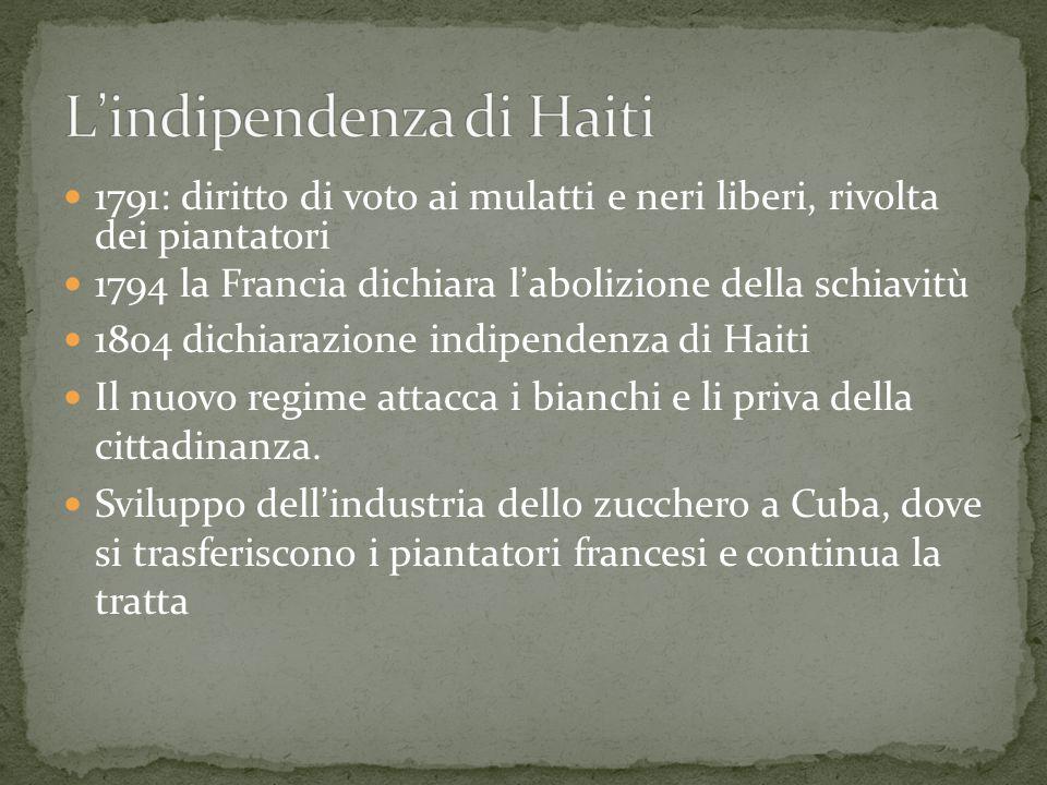 1791: diritto di voto ai mulatti e neri liberi, rivolta dei piantatori 1794 la Francia dichiara l ' abolizione della schiavitù 1804 dichiarazione indi
