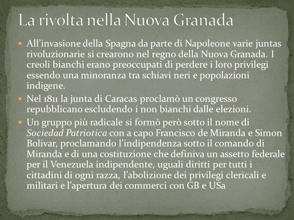 All'invasione della Spagna da parte di Napoleone varie juntas rivoluzionarie si crearono nel regno della Nuova Granada. I creoli bianchi erano preoccu