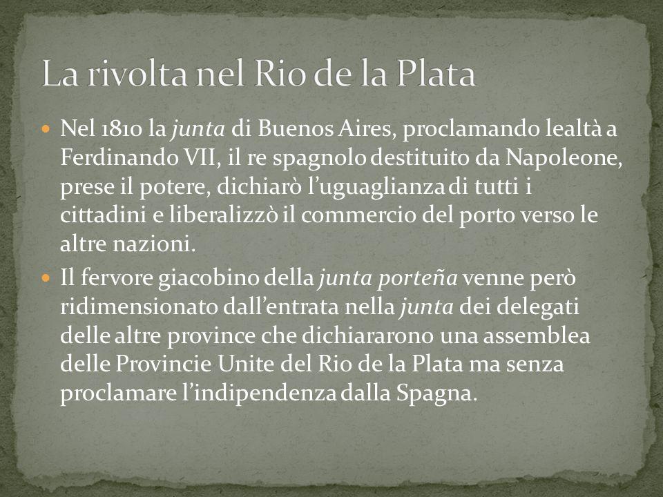 Nel 1810 la junta di Buenos Aires, proclamando lealtà a Ferdinando VII, il re spagnolo destituito da Napoleone, prese il potere, dichiarò l'uguaglianz
