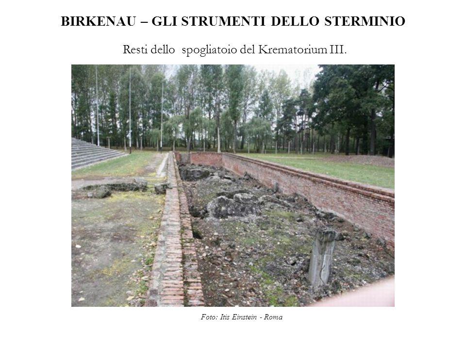 BIRKENAU – GLI STRUMENTI DELLO STERMINIO Resti dello spogliatoio del Krematorium III. Foto: Itis Einstein - Roma