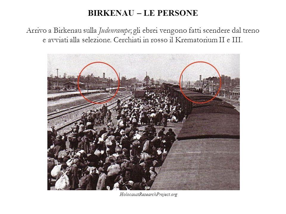 BIRKENAU – LE PERSONE Arrivo a Birkenau sulla Judenrampe; gli ebrei vengono fatti scendere dal treno e avviati alla selezione. Cerchiati in rosso il K