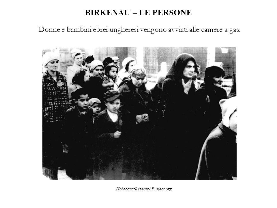 BIRKENAU – LE PERSONE Donne e bambini ebrei ungheresi vengono avviati alle camere a gas. HolocaustResearchProject.org