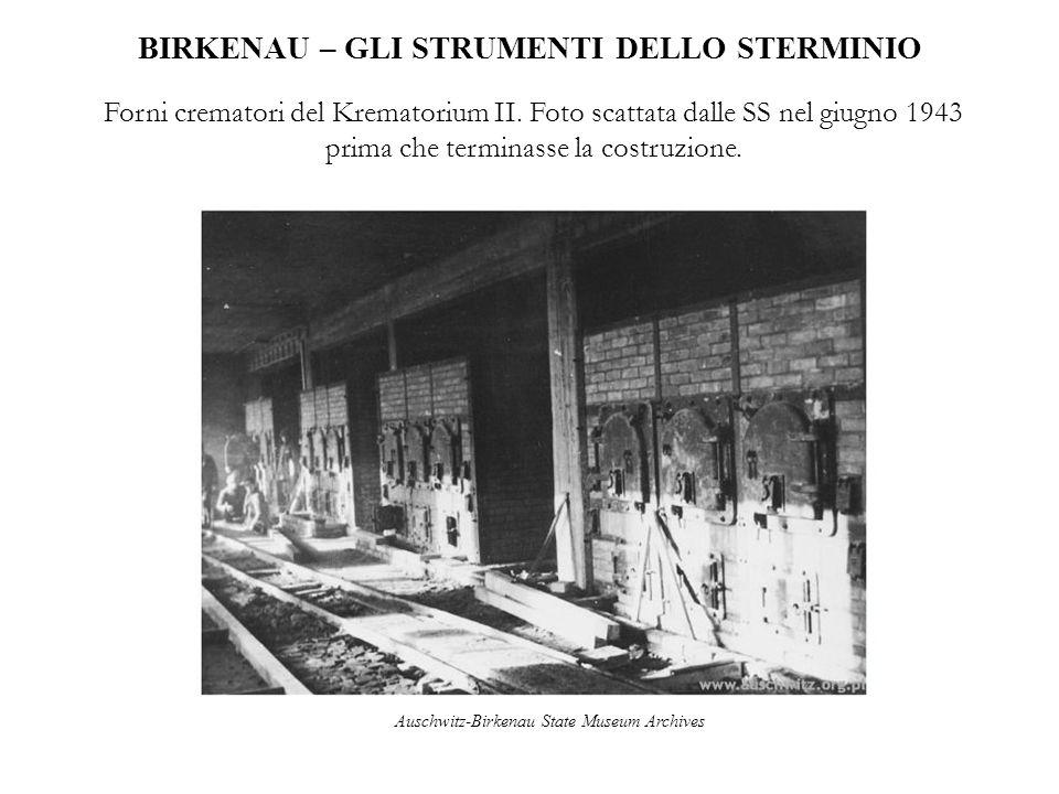 BIRKENAU – GLI STRUMENTI DELLO STERMINIO Forni crematori del Krematorium II. Foto scattata dalle SS nel giugno 1943 prima che terminasse la costruzion