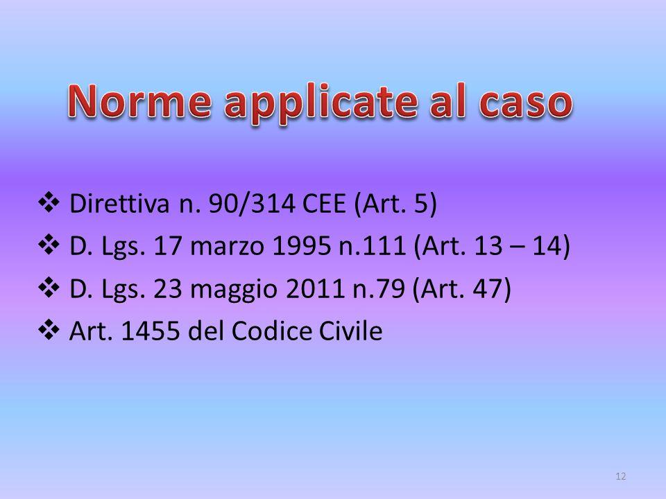  Direttiva n. 90/314 CEE (Art. 5)  D. Lgs. 17 marzo 1995 n.111 (Art. 13 – 14)  D. Lgs. 23 maggio 2011 n.79 (Art. 47)  Art. 1455 del Codice Civile