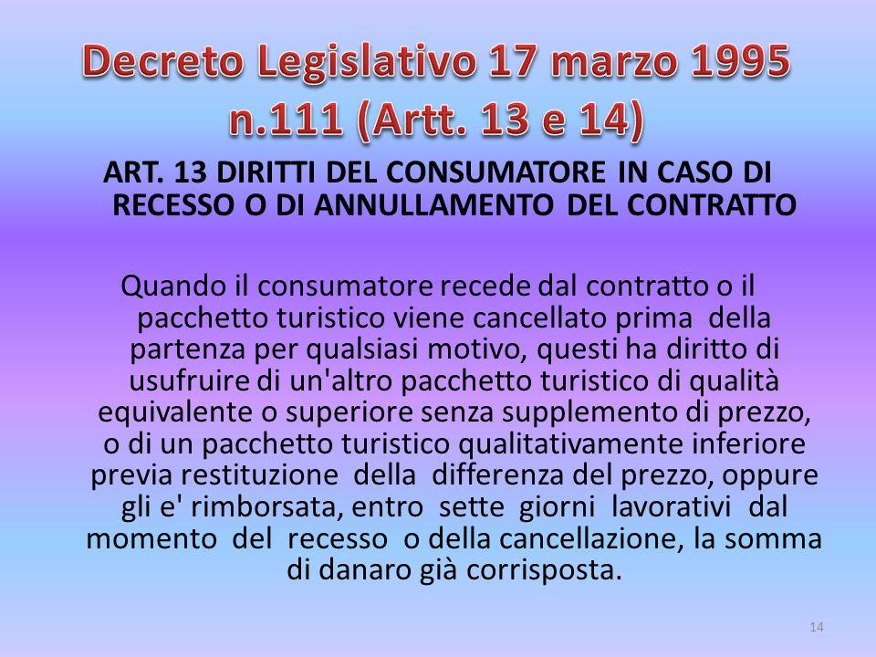 ART. 13 DIRITTI DEL CONSUMATORE IN CASO DI RECESSO O DI ANNULLAMENTO DEL CONTRATTO Quando il consumatore recede dal contratto o il pacchetto turistico