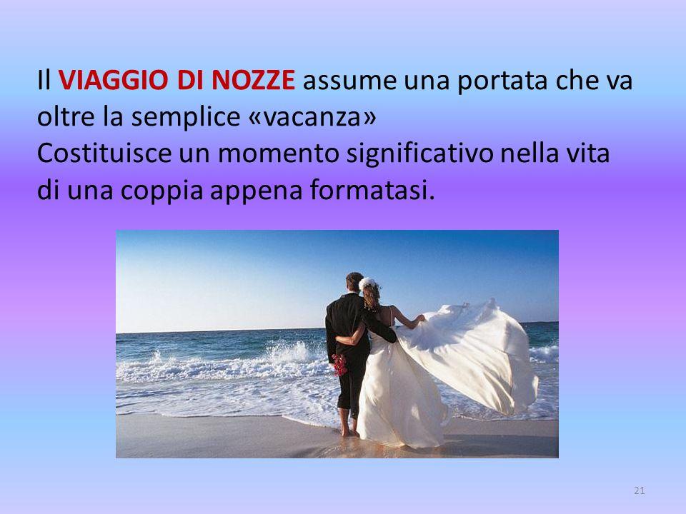 Il VIAGGIO DI NOZZE assume una portata che va oltre la semplice «vacanza» Costituisce un momento significativo nella vita di una coppia appena formata