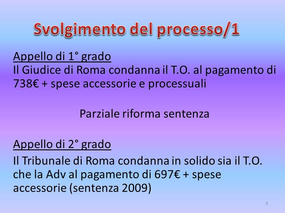 Appello di 1° grado Il Giudice di Roma condanna il T.O. al pagamento di 738€ + spese accessorie e processuali Parziale riforma sentenza Appello di 2°