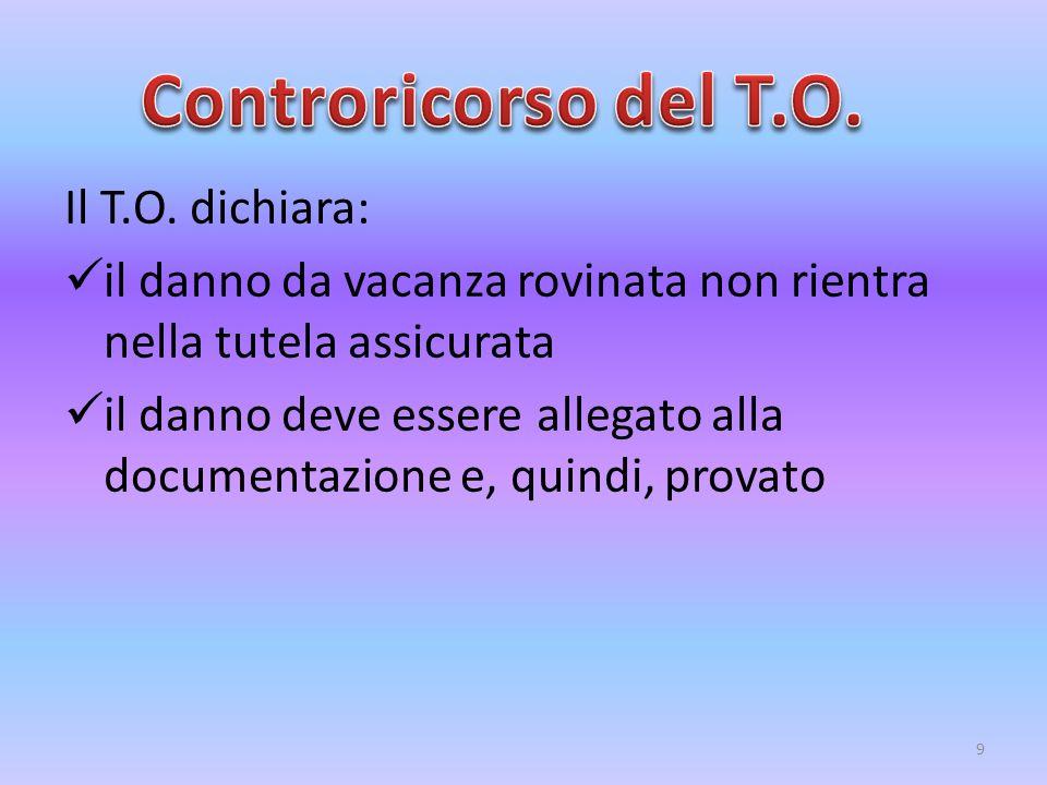 Il T.O. dichiara: il danno da vacanza rovinata non rientra nella tutela assicurata il danno deve essere allegato alla documentazione e, quindi, provat
