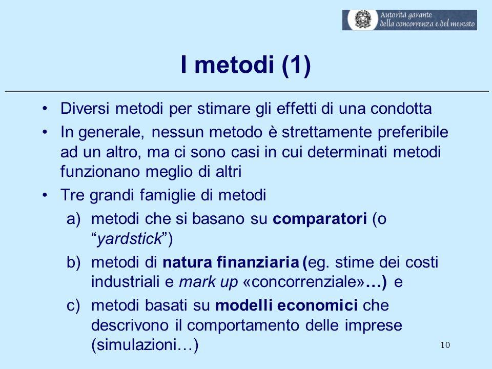 ___________________________________________________________ I metodi (1) Diversi metodi per stimare gli effetti di una condotta In generale, nessun me