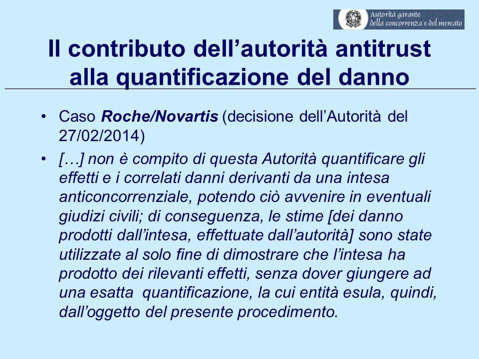 ___________________________________________________________ Il contributo dell'autorità antitrust alla quantificazione del danno Caso Roche/Novartis (
