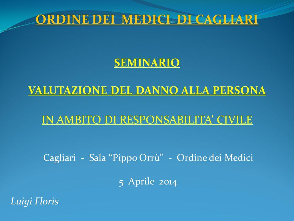 """Cagliari - Sala """"Pippo Orrù"""" - Ordine dei Medici 5 Aprile 2014 Luigi Floris ORDINE DEI MEDICI DI CAGLIARI SEMINARIO VALUTAZIONE DEL DANNO ALLA PERSONA"""